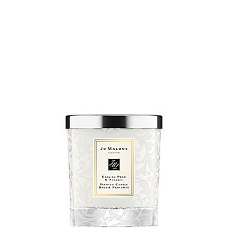 English Pear & Freesia Home Candle with Lace Design