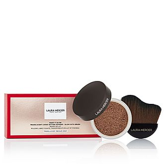Make it Glow Translucent Loose Setting Powder - Glow with Brush-Medium Deep