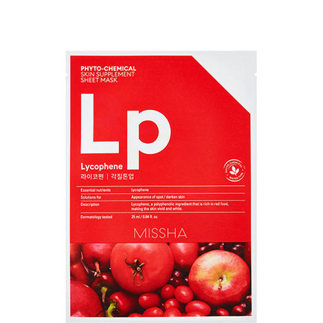 Lycophene Phytochemical Skin Supplement Sheet Mask, ${color}