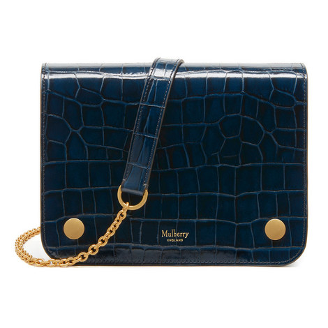 Clifton Chain Croc-Embossed Bag, ${color}
