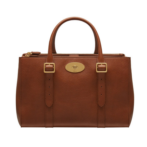 Bayswater Classic Grain Double Zip Tote Small, ${color}