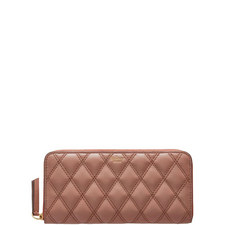 8 CC Quilted Zip Around Wallet