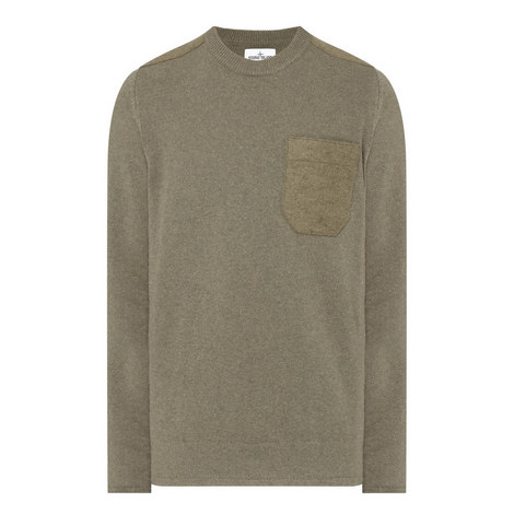Felt Pocket Crew Neck Sweater, ${color}