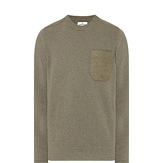 Felt Pocket Crew Neck Sweater