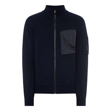 Nylon Pocket Zip-Through Sweater, ${color}