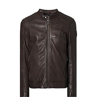 Zip Pocket Leather Racer Jacket
