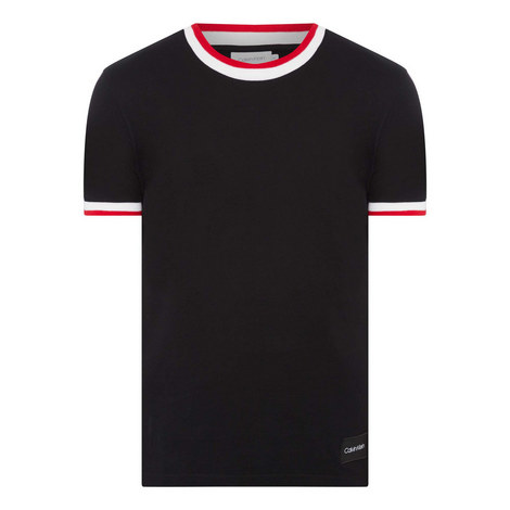Striped Trim Piqué T-Shirt, ${color}
