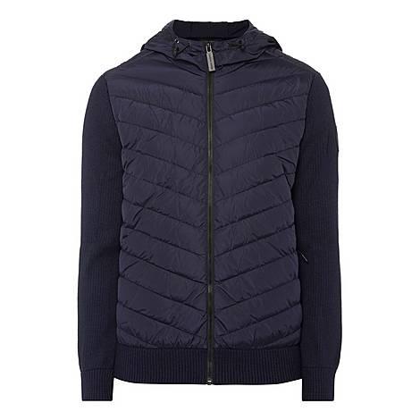 Hooded Hybridge Knit Jacket, ${color}