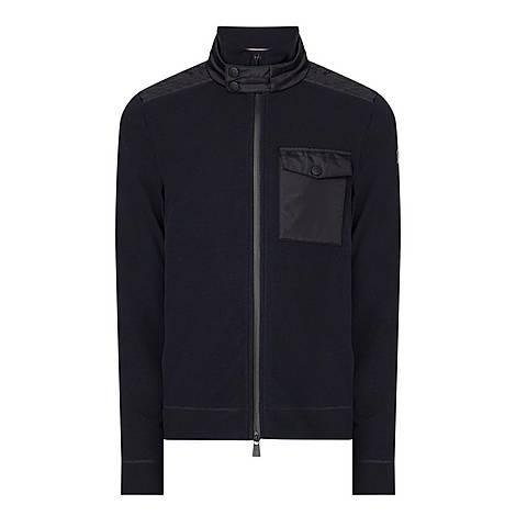 Nylon Trim Zip Fleece Sweater, ${color}