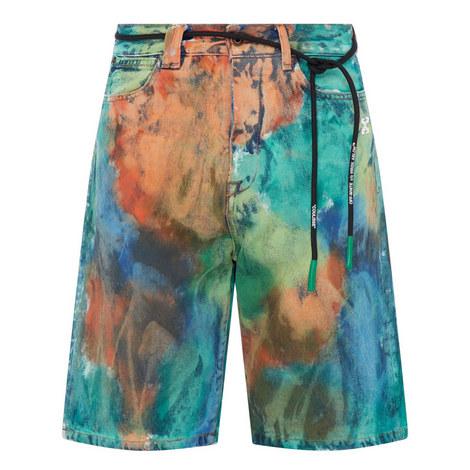 Printed Denim Shorts , ${color}