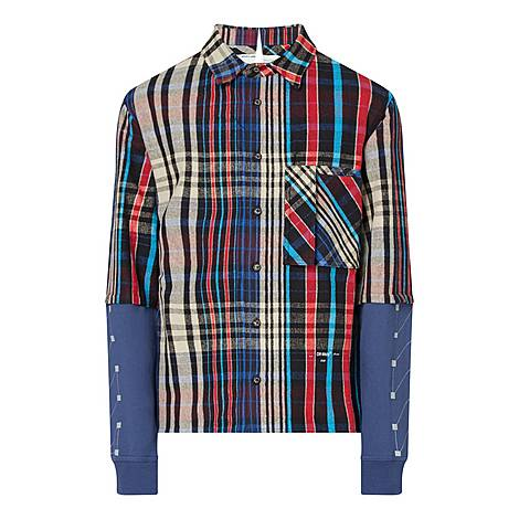 Jersey Sleeve Check Shirt, ${color}