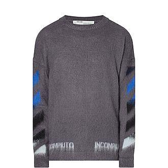 Diagonal Crew Neck Sweater