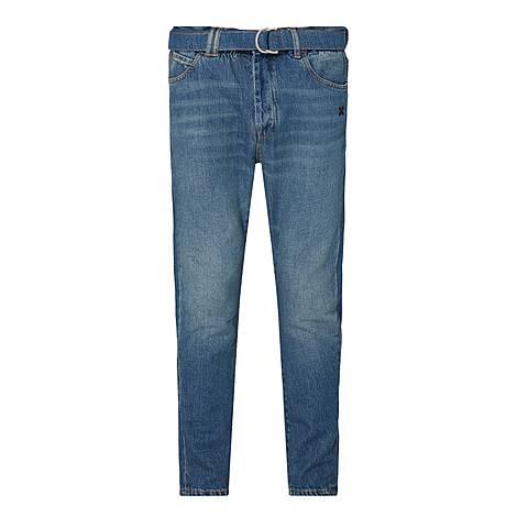 Diagonal Low Crotch Slim Jeans, ${color}