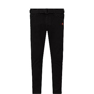 Diagonal Low Crotch Slim Jeans