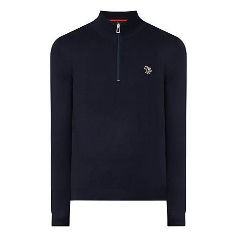 Zebra Patch Half Zip Sweater, ${color}