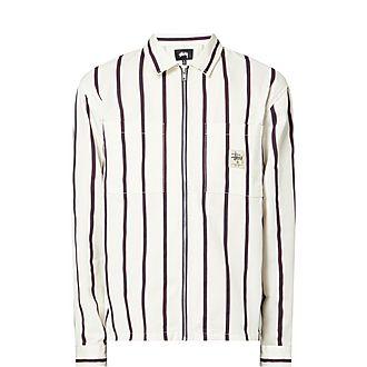 Striped Zip-Up Work Shirt