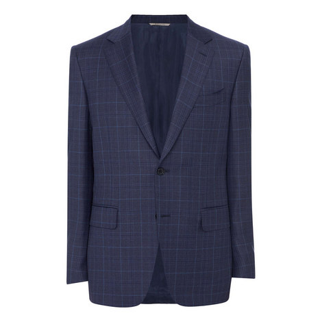 Tonal Wool Check Blazer, ${color}