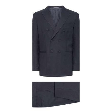Peaked Lapel Double-Breasted Tuxedo, ${color}