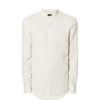 Linen Granddad Collar Shirt
