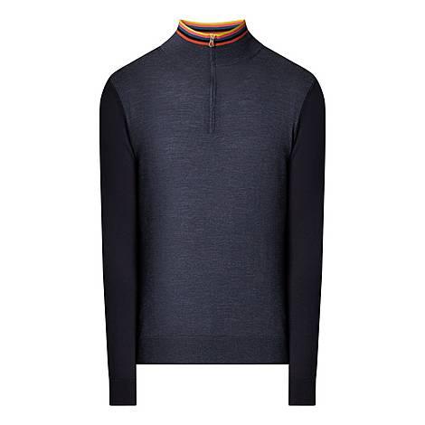 Colour Blocked Half-Zip Sweater, ${color}