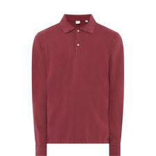 Washed Long Sleeve Polo Shirt