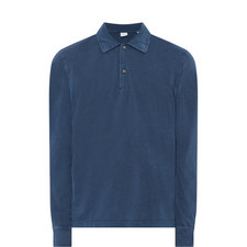 Washed Long Sleeve Polo Shirt