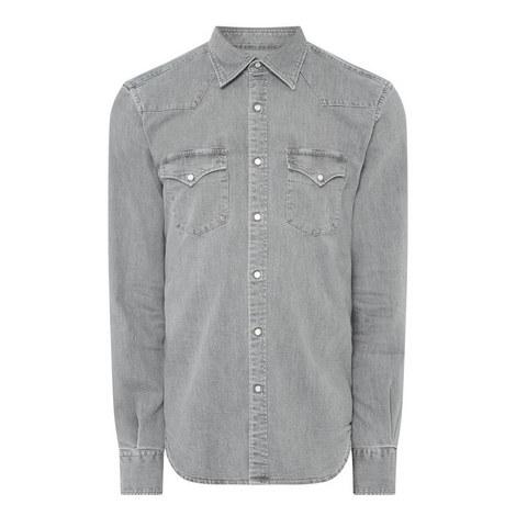 Denim Casual Western Shirt, ${color}