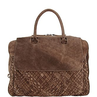 Woven Suede Weekend Bag