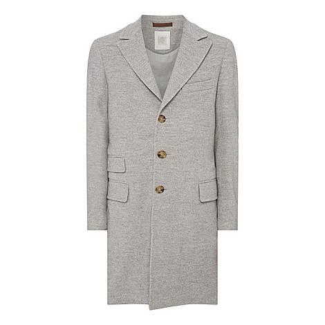 Melange Single-Breasted Overcoat, ${color}
