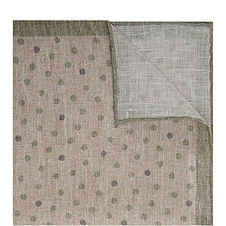 Polka Dot Linen Pocket Square