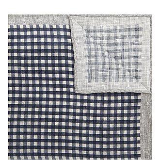 Checked Linen Pocket Square