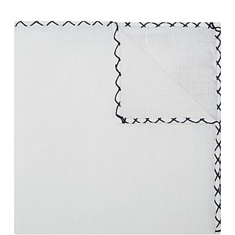 Stitched Border Linen Pocket Square