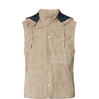 Removable Hood Suede Gilet