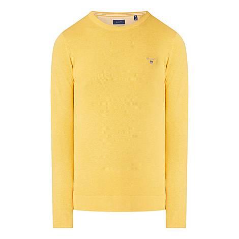 Crew Neck Cotton Piqué Sweater, ${color}