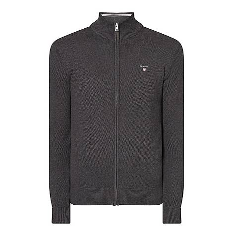Piqué Cotton Zip Sweater, ${color}