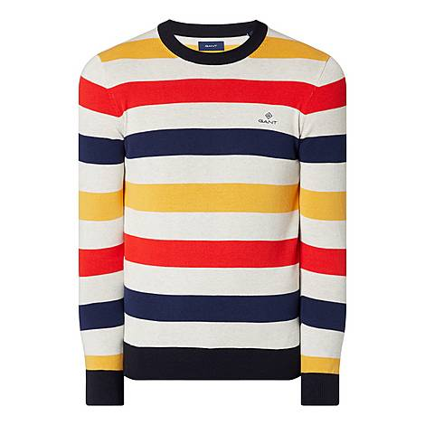 Striped Crew Neck Sweater, ${color}