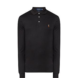 Slim Fit Mesh Long-Sleeve Polo Shirt