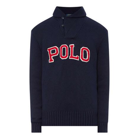 Shawl Collar Logo Sweater, ${color}