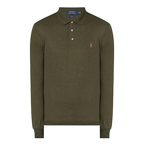 Logo Pima Long-Sleeved Polo Shirt, ${color}
