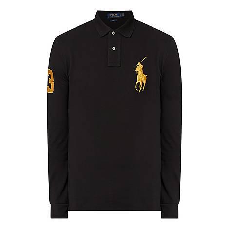 Long Sleeve Large Logo Polo Shirt, ${color}