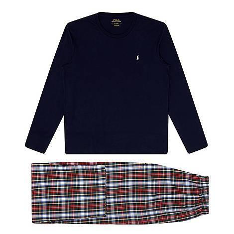 Long Sleeve Plaid Pyjamas, ${color}