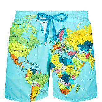 World Map Swim Shorts