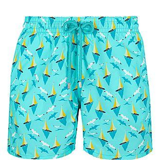 Boats on Water Print Swim Shorts