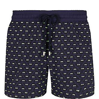 Glow in the Dark Crab Print Swim Shorts