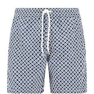Retro Dot Print Swim Shorts