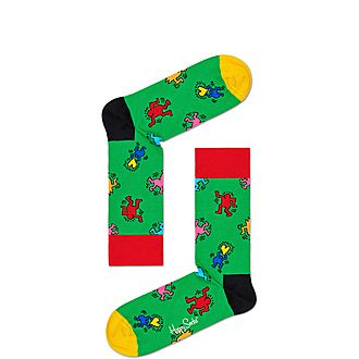 Keith Haring Figure Dancing Socks