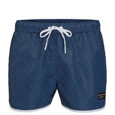 Geometric Tile Print Swim Shorts