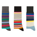 Three-Pack Multi Striped Socks, ${color}