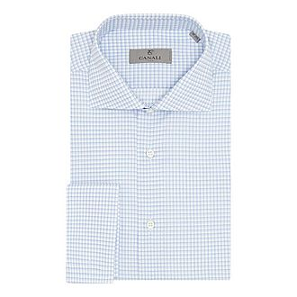 Double-Cuffed Grid Check Shirt