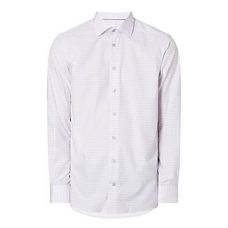 Grid Print Oxford Shirt, ${color}